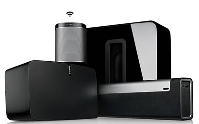 Sonos Wireless Speakers inclusing Sonos PLAYBAR, Sonos PLAY:1, Sonos PLAY:5 and  Sonos SUB