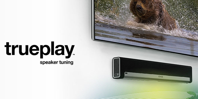 Sonos PLAYBAR featuring exclusive trueplay speaker tuning technology.